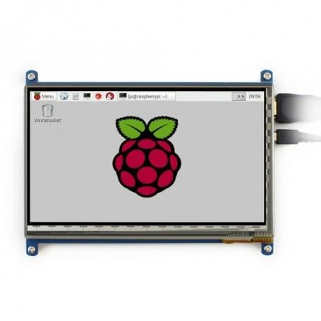 نمایشگر 7 اینچ لمسی دارای ورودی HDMI مناسب برای انواع برد های دارای پورت HDMI شرکت WAVESHARE