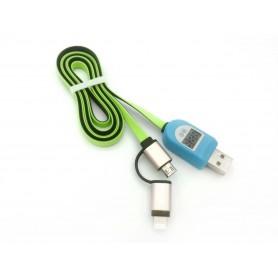 کابل شارژر اندروید و آیفون با نشانگر ولت و آمپر درگاه USB
