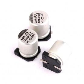 خازن SMD الکترولیت 100uF / 50V سایز 10x10.2 بسته 10 تایی