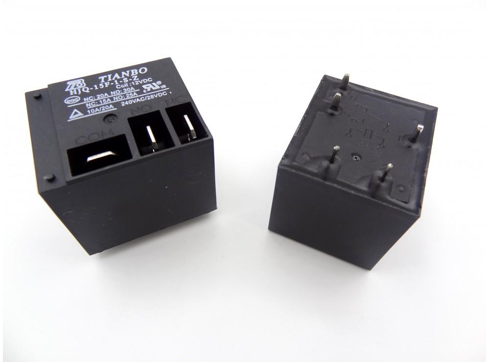 رله فیش خور - کولری 12 ولت 30 آمپر مارک TIANBO کد HJQ-15F-1-S-Z