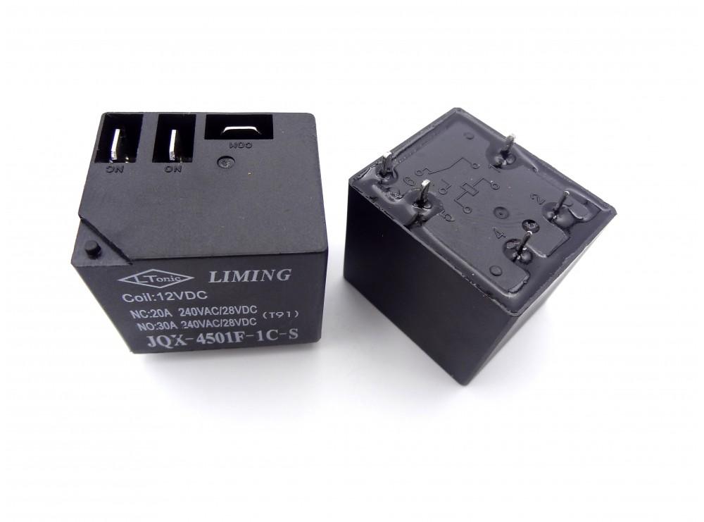 رله فیش خور - کولری 12 ولت 30 آمپر مارک LIMING کد JQX-4501F-1C-S