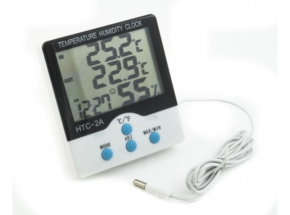 دماسنج و رطوبت سنج و ساعت رومیزی مدل HTC-2A