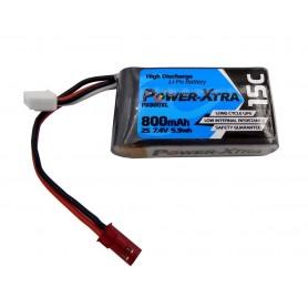 باتری لیتیوم پلیمر 7.4v ظرفیت 800mAh دو سل 15c مارک PowerXtra مدل PX800XL