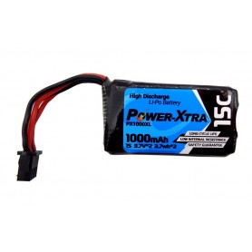 باتری لیتیوم پلیمر 7.4v ظرفیت 1000mAh دو سل 15c مارک PowerXtra