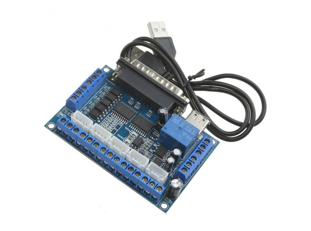 برد کنترلر دستگاه CNC پنج محور با پشتیبانی از نرم افزار MACH3 دارای پورت LPT