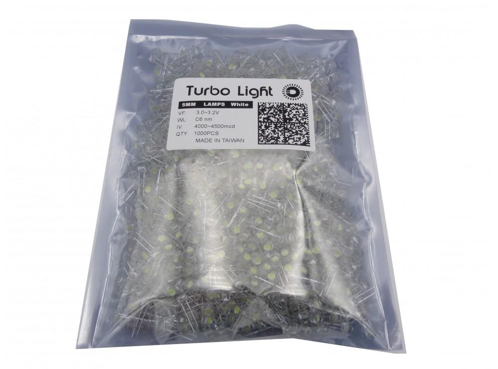 LED کلاهی چیپ بزرگ تایوانی سفید مارک Turbo Lightبسته1000 تایی