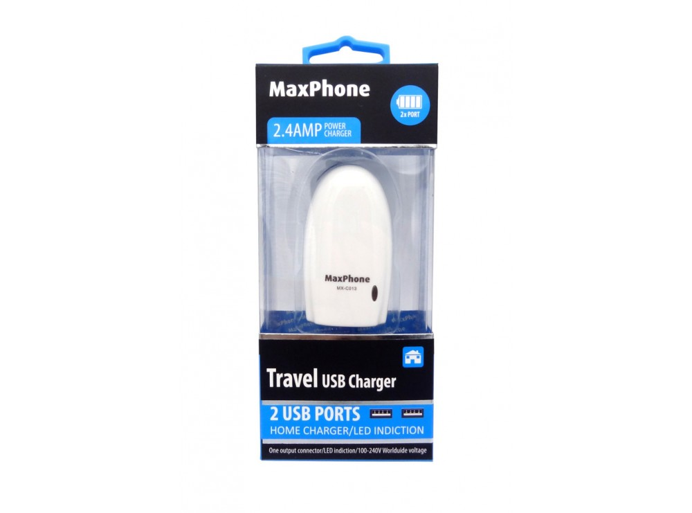 شارژر 5 ولت 2.4A مسافرتی با دو خروجی USB مارک Maxphone