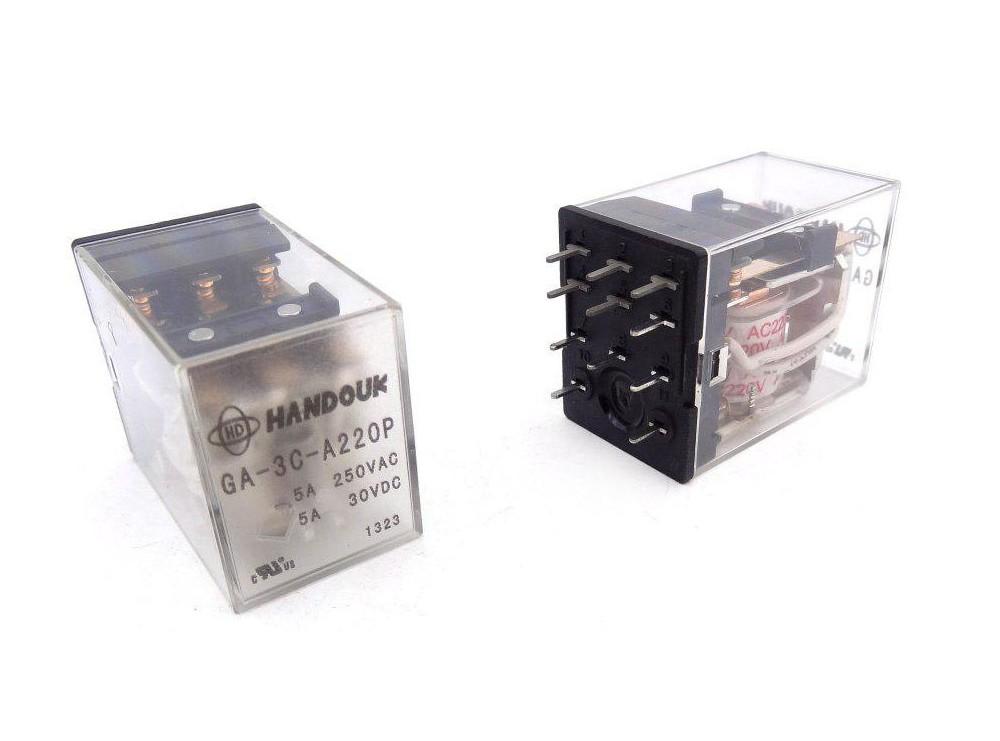 رله شیشه ای 220V-5A سه کنتاکت مارک HANDOUK کد GA-3C-A220P