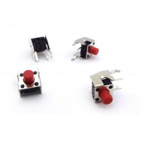 تک سوئیچ 6x6x5.85 دو پایه رایت با هولدر قرمز بسته 10 تایی