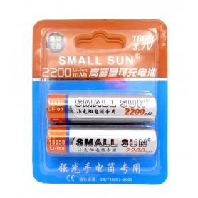باتری لیتیوم یون 3.7v سایز 18650 2200mAh مارک Small Sun کارت دوتایی