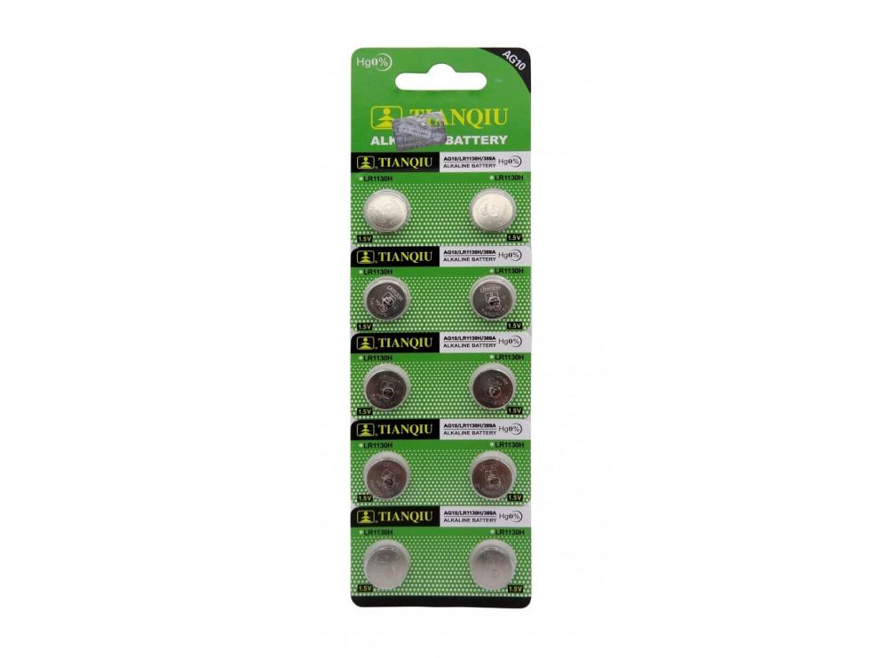 باتری سکه ای آلکالاین AG10 مارک Tianqiu ورق 10 تایی