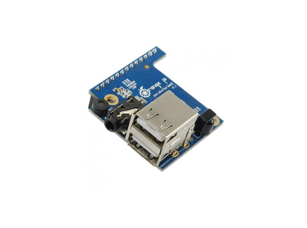 شیلد برد Orange Pi Zero دارای دو پورت USB ، رسیور IR ، میکروفون و خروجی AV