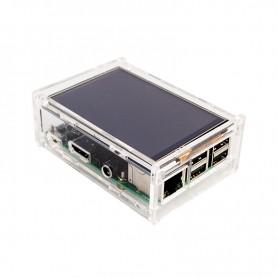 کیس 5 تکه شیشه ای LCD نمایشگر 3.5 اینچ رزبری پای