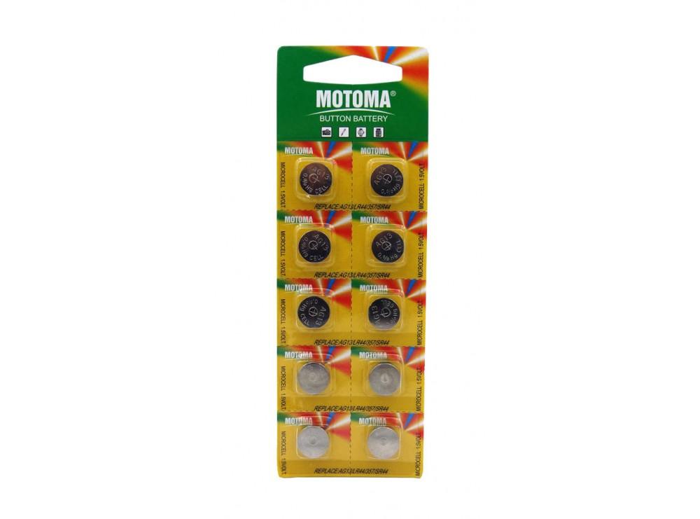 باتری سکه ای آلکالاین AG13 مارک Motoma ورق 10 تایی