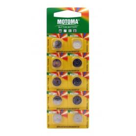 باتری سکه ای آلکالاین AG10 مارک Motoma ورق 10 تایی