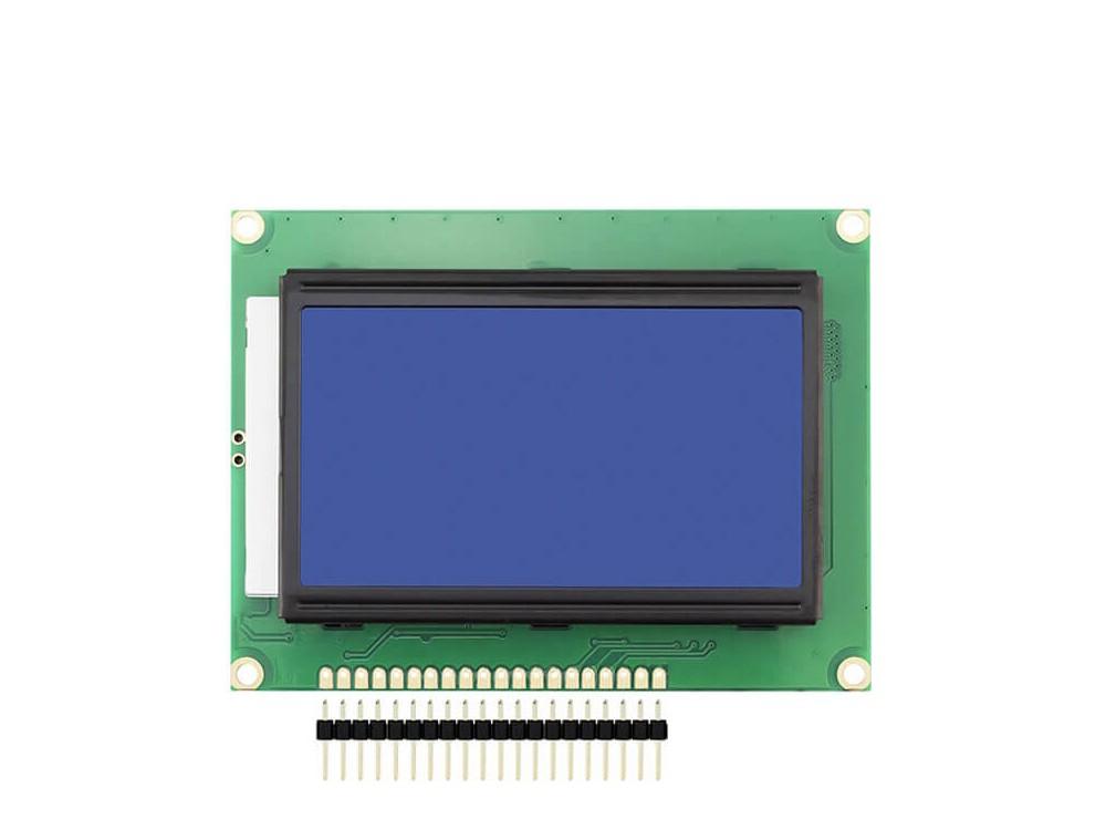 نمایشگر GLCD 64x128 گرافیکی بک لایت آبی با درایور KS108 فریم کوچک