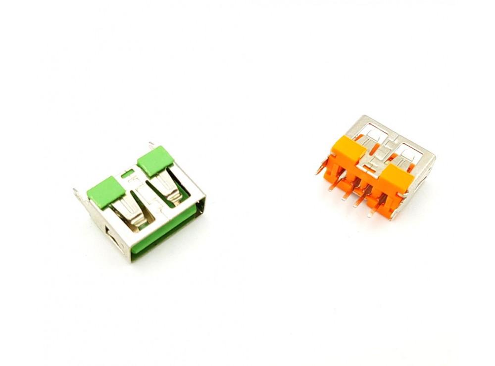 كانكتور USB-A مادگی ایستاده کوتاه 10mm رنگ سبز