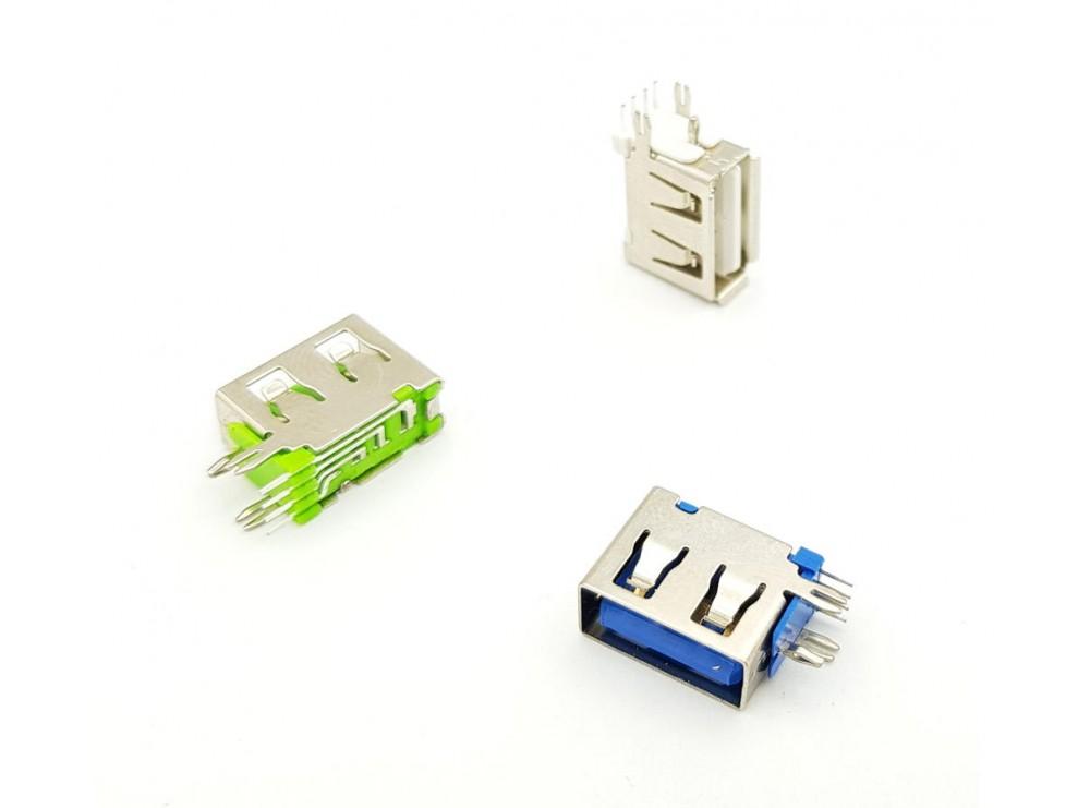 كانكتور USB-A مادگی ایستاده رایت کوتاه 10mm رنگ آبی