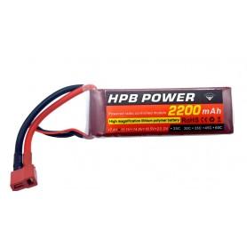 باتری لیتیوم پلیمر 11.1v ظرفیت 2200mAh سه سل 30C مارک HPB Power