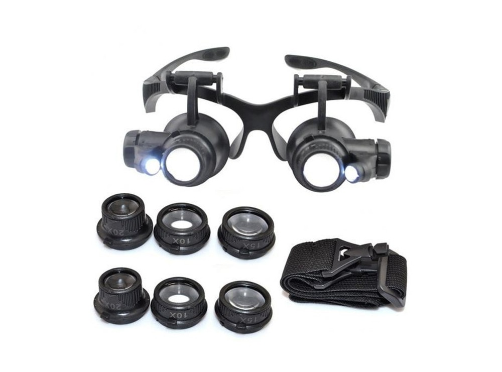 ذره بین عینکی دوچشمی 4 لنز 10X,15X, 20X,25X مدل 9892GJ