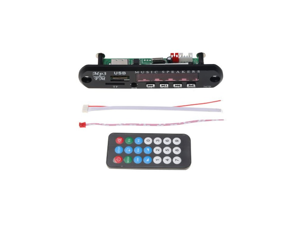 پخش کننده 12V - پنلی MP3 پشتیبانی از MicroSD و USB با ریموت کنترل