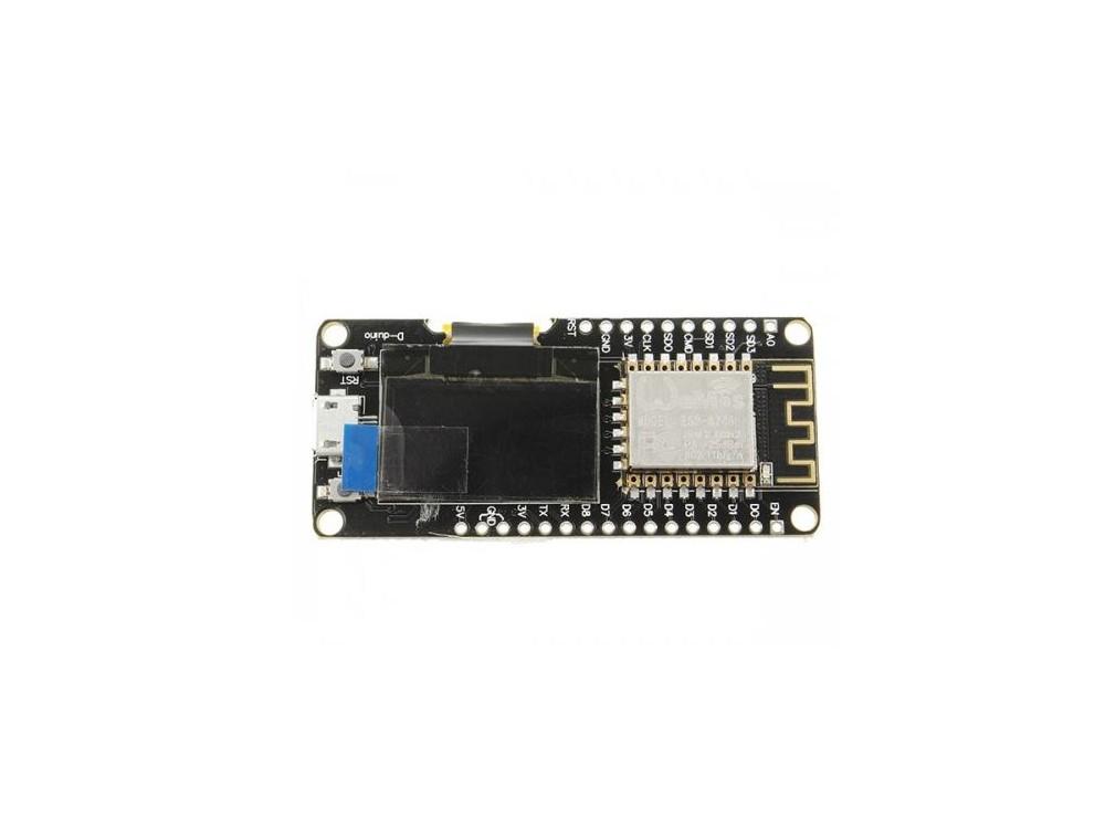 برد توسعه NodeMCU با نمایشگر OLED دارای هسته وایفای ESP-12F و مبدل