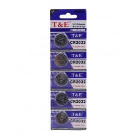 باتری سکه ای 3 ولت CR2032 ورق 5 تایی مارک T&E