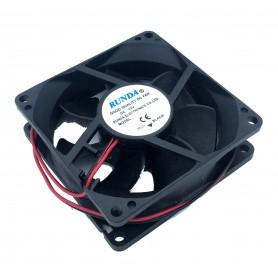 فن 12V-0.23A سایز 8X8 ضخامت 2.5 سانت جریان بالا مارک RUNDA مدل RDH8025L