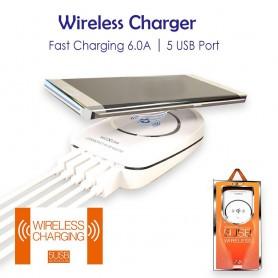 شارژر وایرلس موبایل به همراه هاب 5 پورت USB مدل KH-50