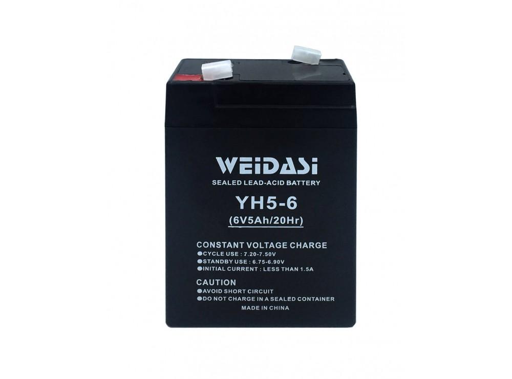 باتری خشک 6 ولت 5 آمپر ساعت مارک Weidasi
