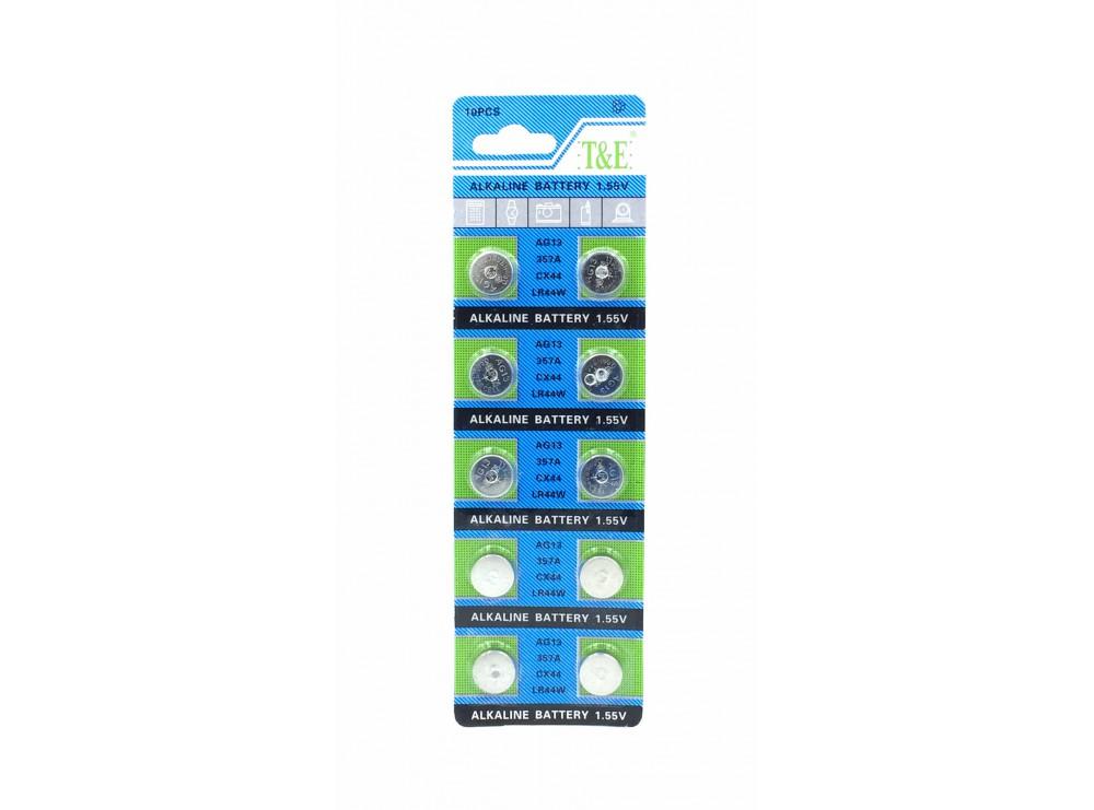 باتری سکه ای آلکالاین AG13 مارک T&E ورق 10 تایی