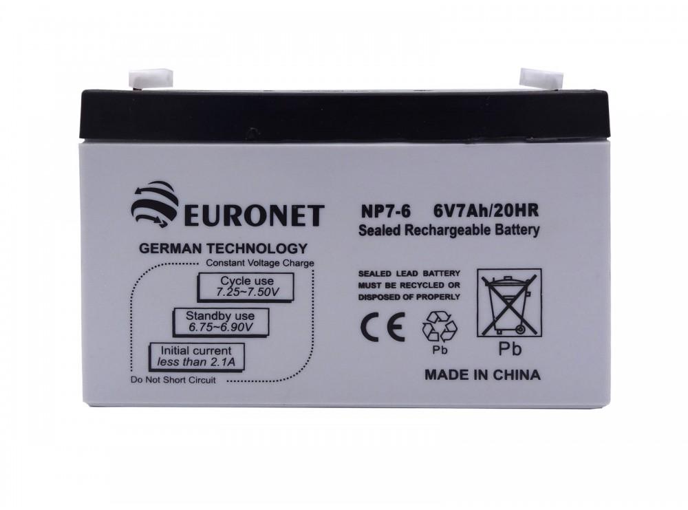باتری خشک 6 ولت 7 آمپر ساعت مارک EuroNet