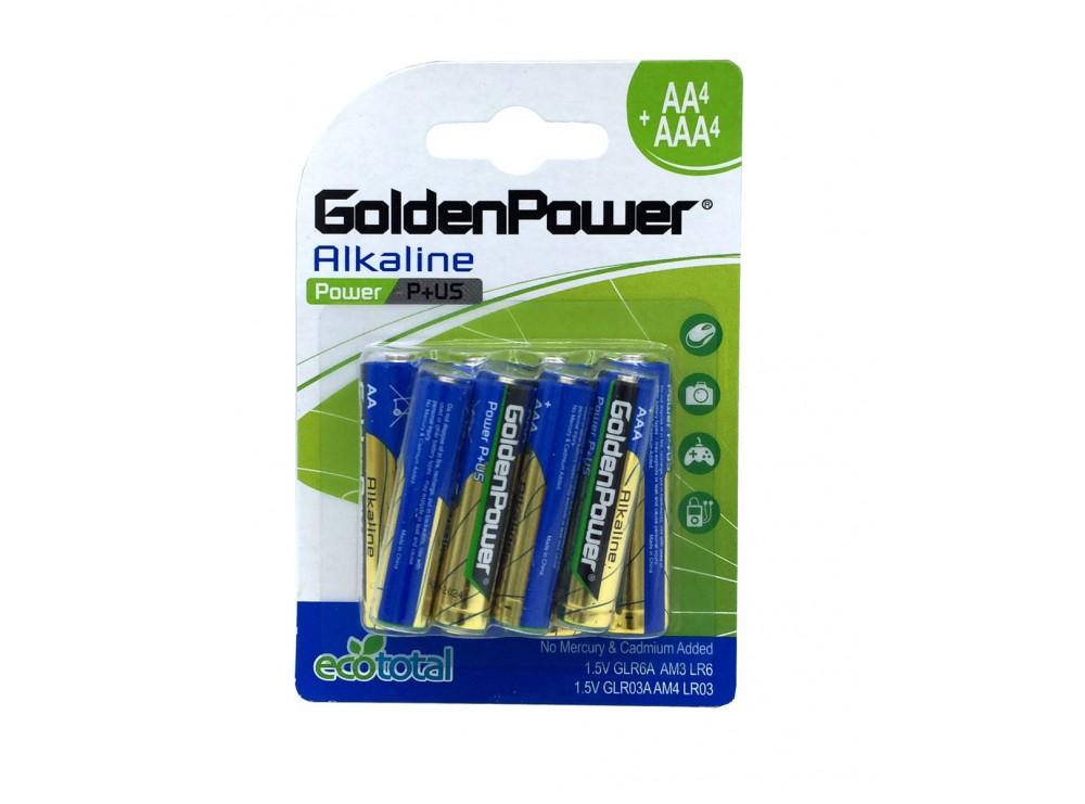 پک 8 تایی باتری قلمی و نیم قلمی 4AA+4AAA آلکالاین مارک Golden Power