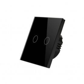 کلید دو پل هوشمند لمسی با قابلیت کنترل از طریق Wifi مشکی