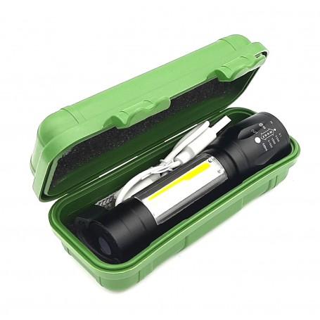چراغ قوه زوم دار جیبی XPE+COB با چراغ بغل