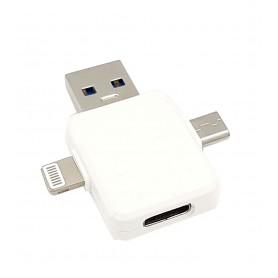 مبدل USB Type-C به سه سر Lightning , USB , TYPE-C