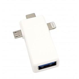 مبدل USB3.0 به سه سر Lightning , Micro USB , Type-C