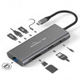 هاب چندمنظوره USB 3.0 مدل 9in1 با ورودی TYPE-C مارک Blueendless