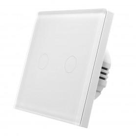 کلید دو پل هوشمند لمسی با قابلیت کنترل از طریق Wifi سفید