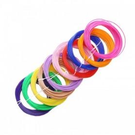 پک 10 رنگی فیلامنت 5متری پرینتر 3 بعدی PLA قطر 1.75mm