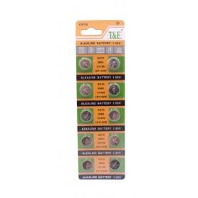 باتری سکه ای آلکالاین AG10 مارک T&E ورق 10 تایی