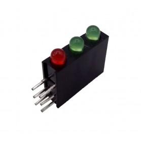 LED قابدار سه تایی سبز-قرمز رایت 3mm