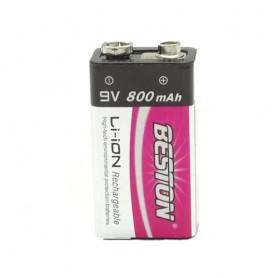 باتری کتابی 9 ولت لیتیوم یون قابل شارژ 800mAh مارک Beston با جعبه پلاستیکی
