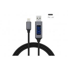 کابل شارژر لایتنینگ Lightning با نشانگر ولت و آمپر درگاه USB