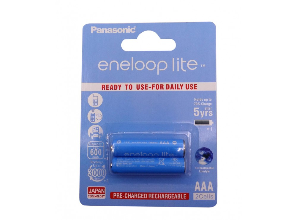 باتری نیم قلمی eneloop lite قابل شارژ 600mAh دوتایی مارک Panasonic