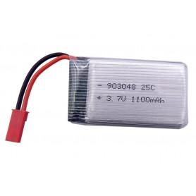 باتری لیتیوم پلیمر 3.7v ظرفیت 1100mAh تک سل 25c