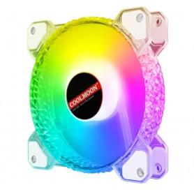 فن کیس LED کنترلی 12V سایز 12X12 مدل Diamond مارک COOLMOONدل شیشه ای مارک COOLMOON
