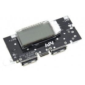 ماژول ساخت پاوربانک دارای نمایشگر و دو خروجی 5V 1A , 2.1A USB