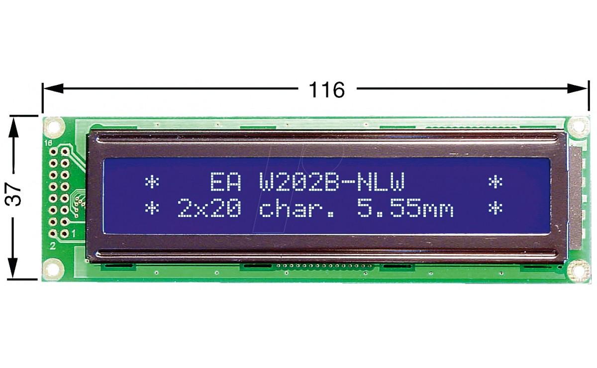 LCD کاراکتری 2x20 بک لایت آبی