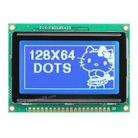 نمایشگر GLCD 64x128 گرافیکی بک لایت آبی با درایور KS108 فریم بزرگ